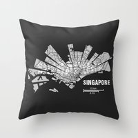 singapore Throw Pillows featuring Singapore Map by Shirt Urbanization