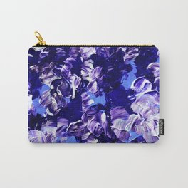 FLORAL FANTASY 2 Bold  Blue Lavender Purple Abstract Flowers Acrylic Textural Painting Garden Art Carry-All Pouch