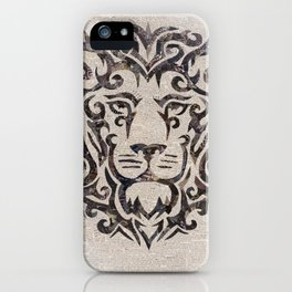 black lion on French newsprint iPhone Case