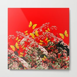 RED GARDEN ART OF YELLOW BUTTERFLIES & LACEY FLOWERS Metal Print