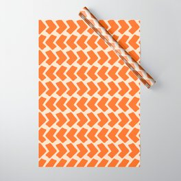 Orange Geometric Pattern Retro Print Wrapping Paper