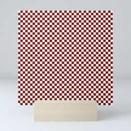 Vintage New England Shaker Barn Red and White Milk Paint Large Square Checker Pattern Mini Art Print