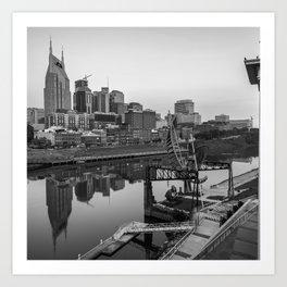Nashville Skyline - Square Format - Black and White Art Print