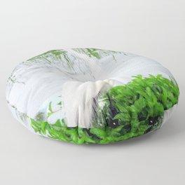 The Great White Egret Floor Pillow