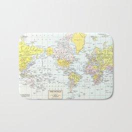 Vintage World Map Bath Mat