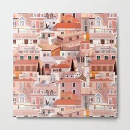N171 - Watercolors Desert, Glam Style Traditional Buildings Artwork Metal Print