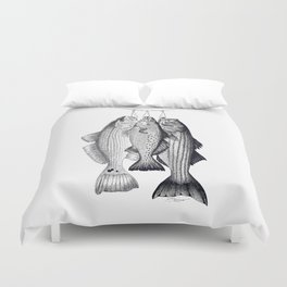 3 Amigos - Red Drum, Sea Trout, Striped Bass Duvet Cover