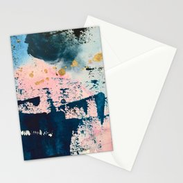 Candyland: a vibrant, colorful abstract piece in blue teal pink and gold by Alyssa Hamilton Art Stationery Cards