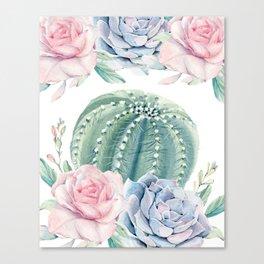 Cactus Rose Succulents Garden Canvas Print