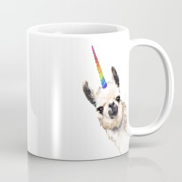 Sneaky Unicorn Llama White Coffee Mug