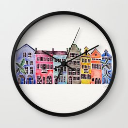 Rainbow Row – Charleston Wall Clock
