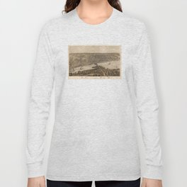 Vintage Pictorial Map of Peoria Illinois (1867) Long Sleeve T-shirt