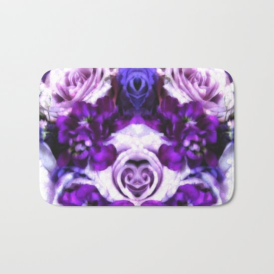 purple pink flowers Bath Mat