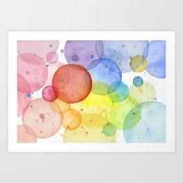 Watercolor Abstract Rainbow Circles and Splatters Art Print