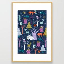 winter woodland animals Framed Art Print