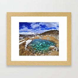 Mountain landscape with icy summit and small lake in Georgia Framed Art Print