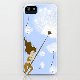Girl Flying, Spring, Dandelion seeds iPhone Case