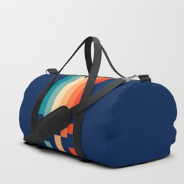 Classic 70s Style Abstract Rainbow Retro Stripes Pixel Drops - Ayako Duffle Bag