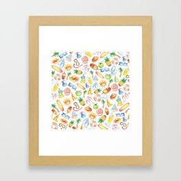 Modern sunshine yellow pink green watercolor beach pattern Framed Art Print