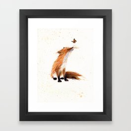 Monarch Fox - animal watercolor painting Framed Art Print