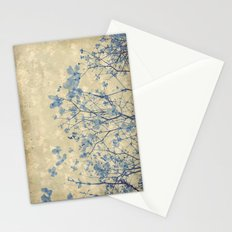 Vintage Duotone Indigo Blue and Cream Spring Dogwood Branches Stationery Cards