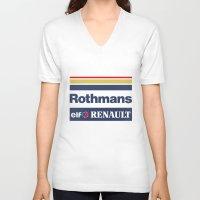 senna V-neck T-shirts featuring Williams F1 Rothmans Ayrton Senna by Krakenspirit