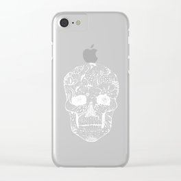 Human skull with hand- drawn flowers, butterflies, floral and geometrical patterns Clear iPhone Case