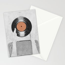 Vinyl record head ... Stationery Cards