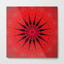 Red Star Decorative Mandala Metal Print