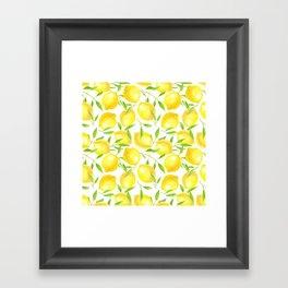 Lemons and leaves  pattern design Framed Art Print