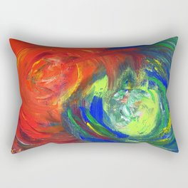 Dynamic Swirls of Color - Red Rectangular Pillow