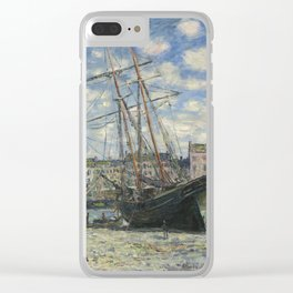 Claude Monet - Boats Lying at Low Tide at Facamp Clear iPhone Case