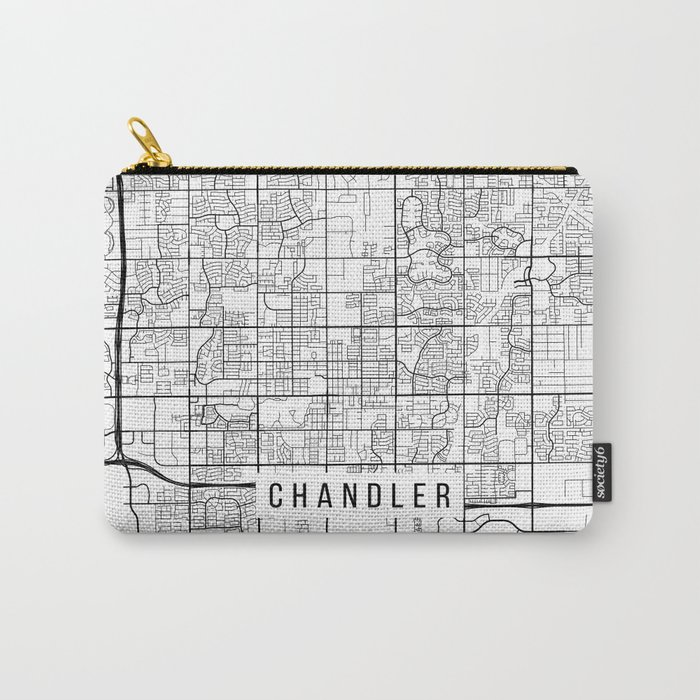 Chandler Map, Arizona USA - Black & White Portrait Carry-All Pouch