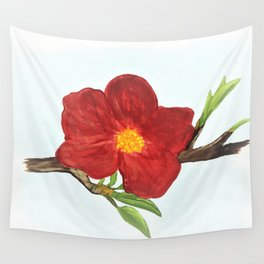 Bright Red Plumb Blossom Wall Tapestry