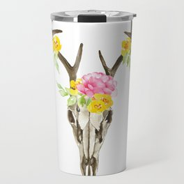 Bohemian deer skull and antlers with flowers Travel Mug