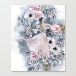 Ballerina and flowers n.4 Canvas Print