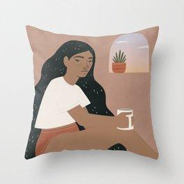 matcha mornings Throw Pillow