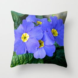 Blue Heartsease Flower Throw Pillow