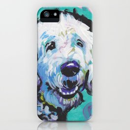Fun Doodle Dog bright colorful Pop Art by Lea iPhone Case