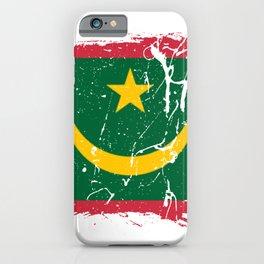 Distressed Mauritania Flag Graffiti iPhone Case