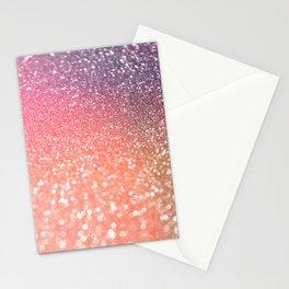 Rose Gold Peach Glitter Blush Stationery Cards