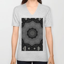Glossy Black/Silver Gray Circular Repeat Pattern  Unisex V-Neck