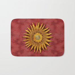 """Aztec Sun and pickled coral"" Bath Mat"