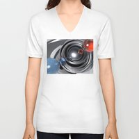 aperture V-neck T-shirts featuring Abstract Camera Lens by Phil Perkins