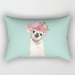 Llama with Flowers Crown #3 Rectangular Pillow