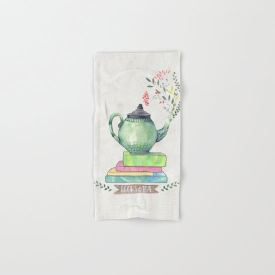 Books & Tea Watercolor Hand & Bath Towel