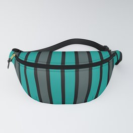 Turquoise, Black & Gray Stripes Fanny Pack
