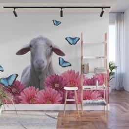 sheep butterflies gerbera  flowers pink Wall Mural