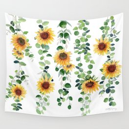 Eucalyptus and Sunflowers Garland  Wall Tapestry