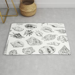 collection of sea shells, black contour on white background Rug